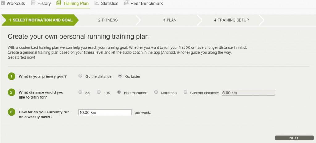 Endomondo, tréninkový plán - výběr výkonnosti
