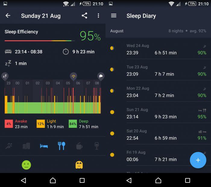Sleep Better - zobrazení detailu spánku a výpisu